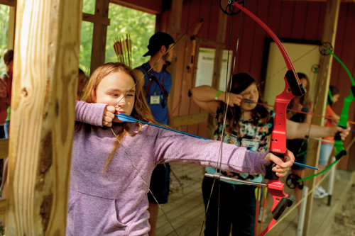 archery for girls at summer camp