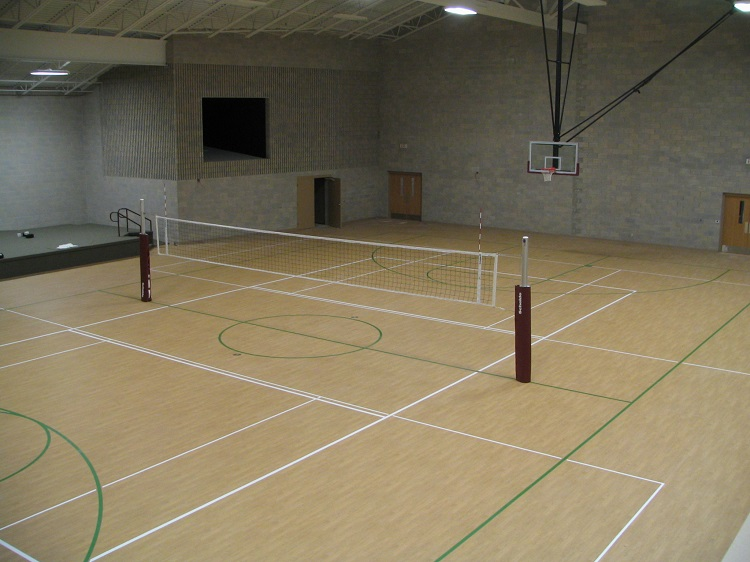 gym volleyball setup
