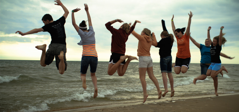 Excited at Lake Michigan